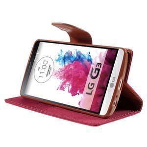 Canvas PU kožené/textilní pouzdro na LG G3 - rose - 4