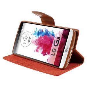 Canvas PU kožené/textilní pouzdro na LG G3 - oranžové - 4
