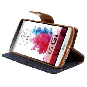 Canvas PU kožené/textilní pouzdro na LG G3 - tmavěmodré - 4