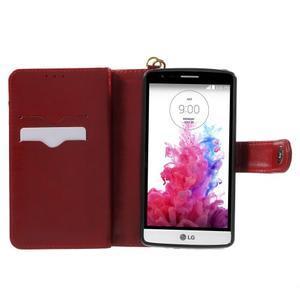 Patrové peněženkové pouzdro na mobil LG G3 - vínově červené - 4