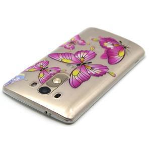 Průhledný gelový obal na LG G3 - motýlci - 4