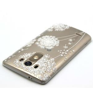 Průhledný gelový obal na LG G3 - bílá pampeliška - 4