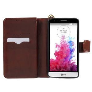 Patrové peněženkové pouzdro na mobil LG G3 - hnědé - 4