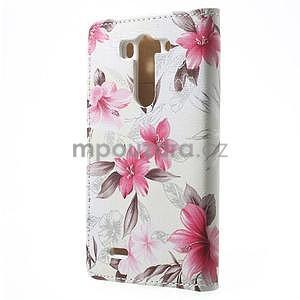 Elegantní lilie peněženkové pouzdro na LG G3 s - bílé - 4