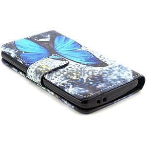 Obrázkové peněženkové pouzdro na LG G3 s - modrý motýl - 4