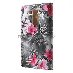 Elegantní lilie peněženkové pouzdro na LG G3 s - černé - 4
