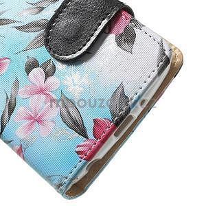 Elegantní lilie peněženkové pouzdro na LG G3 s - tyrkysové - 4