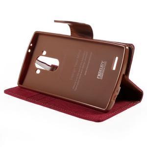 Canvas PU kožené/textilní pouzdro na mobil LG G4 - červené - 4