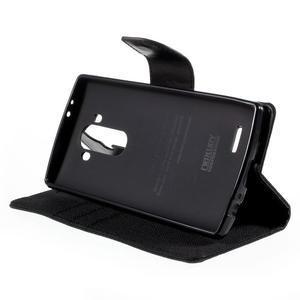 Canvas PU kožené/textilní pouzdro na mobil LG G4 - černé - 4