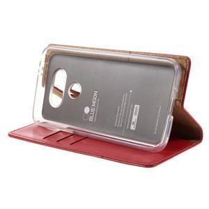 Luxury PU kožené pouzdro na mobil LG G5 - červené - 4