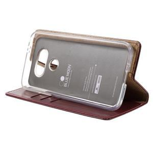 Luxury PU kožené pouzdro na mobil LG G5 - vínově červené - 4