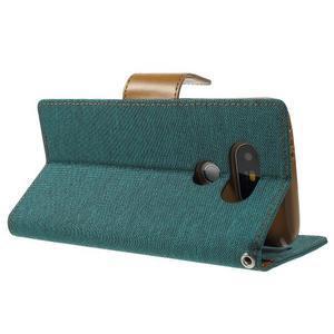 Canvas PU kožené/textilní pouzdro na LG G5 - zelené - 4