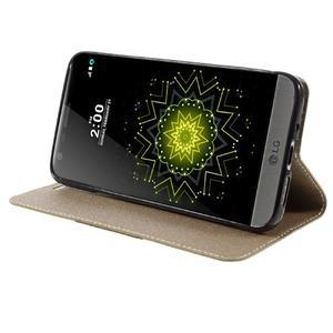 Klopové peneženkové pouzdro na LG G5 - zlaté - 4