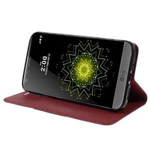 Klopové peneženkové pouzdro na LG G5 - červené - 4