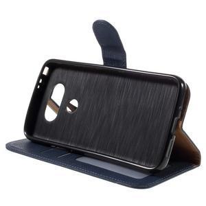 Cloth koženkové peněženkové pouzdro na LG G5 - tmavěmodré - 4