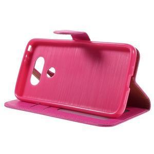 Cloth koženkové peněženkové pouzdro na LG G5 - rose - 4