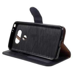 Cloth koženkové peněženkové pouzdro na LG G5 - černé - 4
