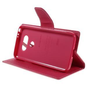 Goos stylové PU kožené pouzdro na LG G5 - růžové - 4
