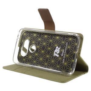 Diary PU kožené pouzdro na mobil LG G5 - khaki - 4
