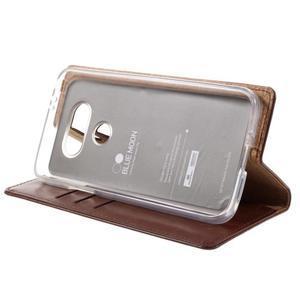 Luxury PU kožené pouzdro na mobil LG G5 - hnědé - 4