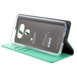 Luxury PU kožené pouzdro na mobil LG G5 - cyan - 4