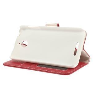 Folio PU kožené pouzdro na mobil HTC Desire 510 - červené - 4
