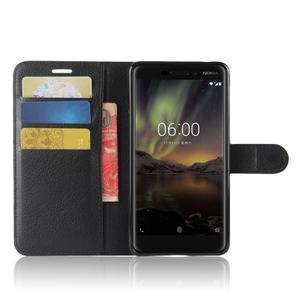 Litchi PU kožené pouzdro na Nokia 6.1 - černé - 4