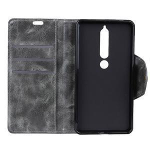 Retro PU kožené pouzdro na Nokia 6.1 - šedé - 4