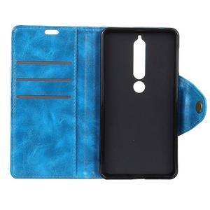 Retro PU kožené pouzdro na Nokia 6 (2018) - modré - 4