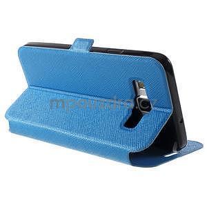Klopové PU kožené pouzdro na Samsung Galaxy A3 - modré - 4