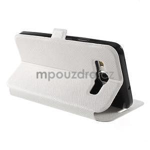 Klopové PU kožené pouzdro na Samsung Galaxy A3 - bílé - 4