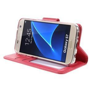 Rich PU kožené peněženkové pouzdro na Samsung Galaxy S7 - rose - 4