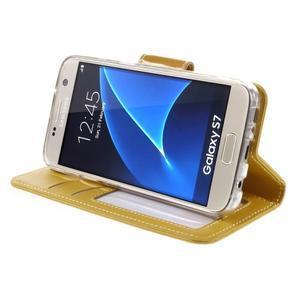Rich PU kožené peněženkové pouzdro na Samsung Galaxy S7 - žluté - 4