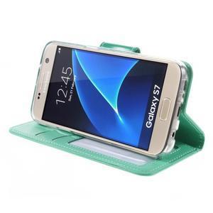 Rich PU kožené peněženkové pouzdro na Samsung Galaxy S7 - azurové - 4