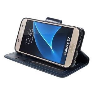 Rich PU kožené peněženkové pouzdro na Samsung Galaxy S7 - tmavěmodré - 4