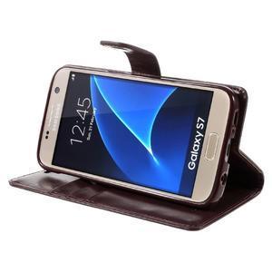 Moon PU kožené pouzdro na mobil Samsung Galaxy S7 - tmavěčervené - 4