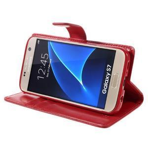 Moon PU kožené pouzdro na mobil Samsung Galaxy S7 - červené - 4