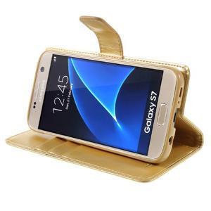 Moon PU kožené pouzdro na mobil Samsung Galaxy S7 - zlaté - 4