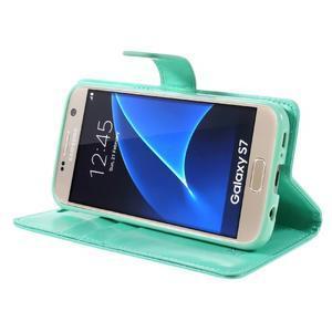 Moon PU kožené pouzdro na mobil Samsung Galaxy S7 - azurové - 4