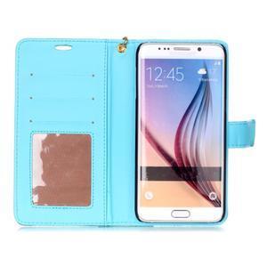 Croco styl peněženkové pouzdro na Samsung Galaxy S7 - modré - 4