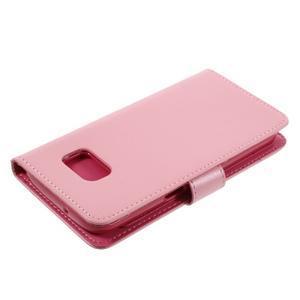 Luxury PU kožené pouzdro na Samsung Galaxy S7 - růžové - 4