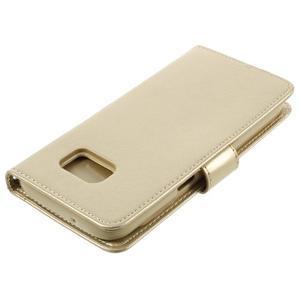 Luxury PU kožené pouzdro na Samsung Galaxy S7 - zlaté - 4