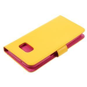 Luxury PU kožené pouzdro na Samsung Galaxy S7 - žluté - 4