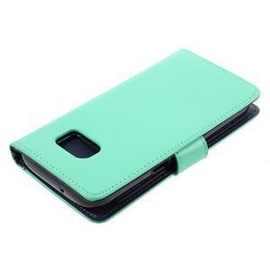 Luxury PU kožené pouzdro na Samsung Galaxy S7 - azurové - 4