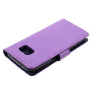 Luxury PU kožené pouzdro na Samsung Galaxy S7 - fialové - 4