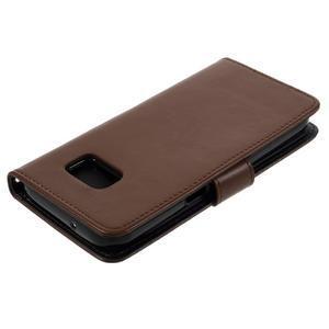 Luxury PU kožené pouzdro na Samsung Galaxy S7 - hnědé - 4