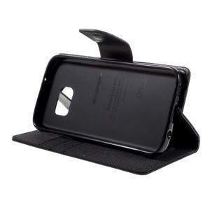 Canvas PU kožené/textilní pouzdro na Samsung Galaxy S7 - černé - 4