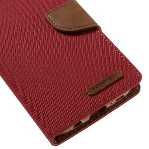 Canvas PU kožené/textilní pouzdro na Samsung Galaxy S7 - červené - 4