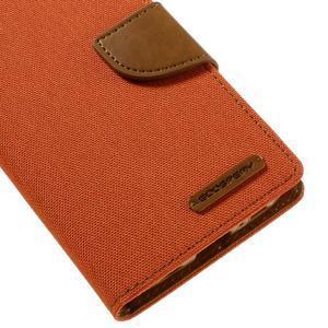Canvas PU kožené/textilní pouzdro na Samsung Galaxy S7 - oranžové - 4