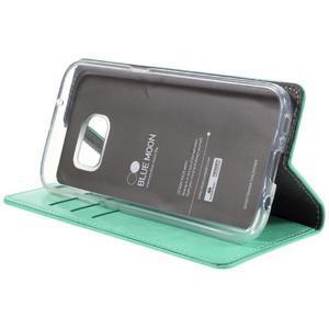 Bluemoon PU kožené puzdro pre mobil Samsung Galaxy S7 - cyan - 4